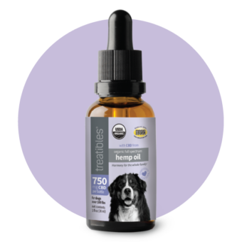 Treatibles Organic Full Spectrum Hemp Oil 750 mg CBD oil in a brown oil dropper bottle with a light purple label featuring a large black and white dog.