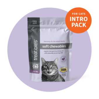 Image of the front of the Intro Pack size of Treatibles Soft Chewables for Cats bag