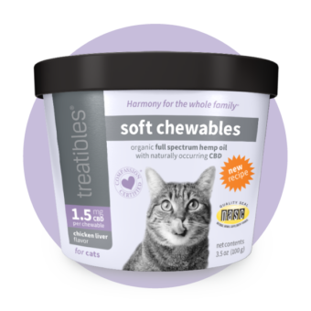 Image of the new and improved formula Treatibles Soft Chewables for Cats canister