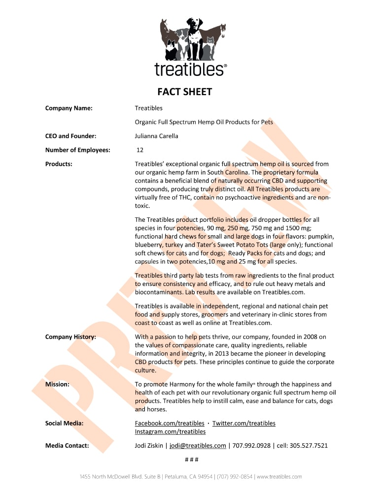 Treatibles Company Fact Sheet Preview