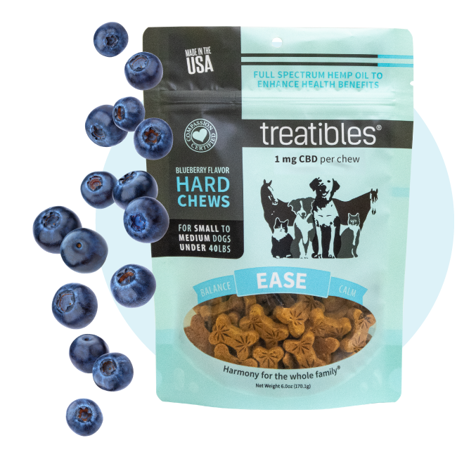Blue bag of Treatibles Ease (blueberry) Hard Chews for small to medium dogs featuring Organic Full Spectrum Hemp CBD Oil