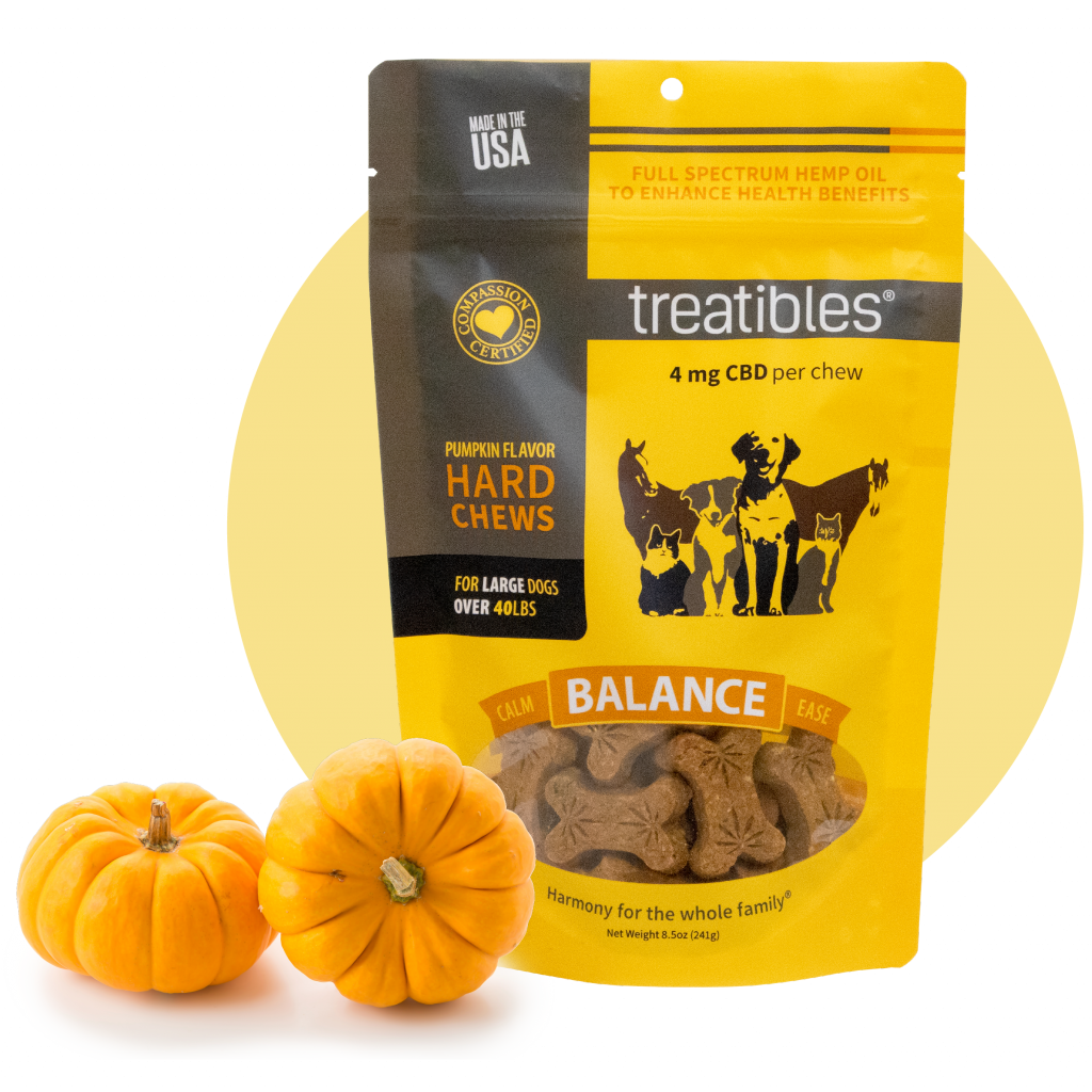Bag of Treatibles Balance (pumpkin) Hard Chews for large dogs featuring Organic Full Spectrum Hemp CBD Oil