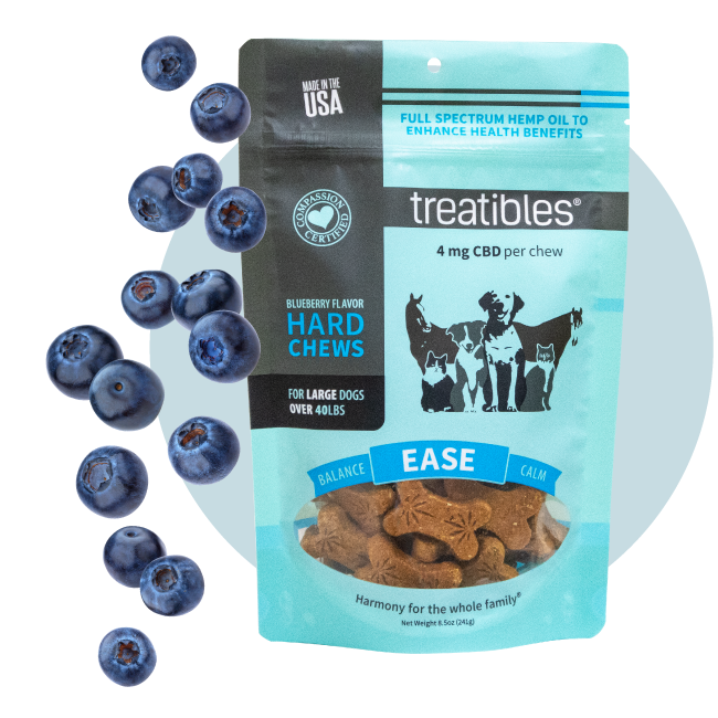 Blue bag of Treatibles Ease (blueberry) Hard Chews for large dogs featuring Organic Full Spectrum Hemp CBD Oil