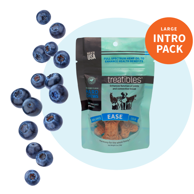 Blue Intro Pack bag of Treatibles Ease (blueberry) Hard Chews for large dogs featuring Organic Full Spectrum Hemp CBD Oil
