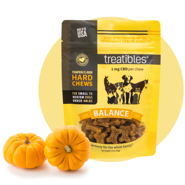 Orange bag of Treatibles Balance (pumpkin) Hard Chews for small dogs featuring Organic Full Spectrum Hemp CBD Oil