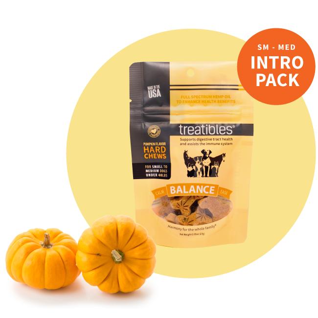 Orange bag of Treatibles Balance Organic Full Spectrum Hemp CBD Hard Chews with pumpkin flavor for small dogs