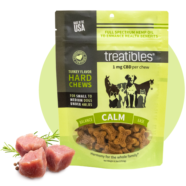 Green bag of Treatibles Calm (turkey) Hard Chews for small to medium dogs featuring 1 mg Organic Full Spectrum Hemp CBD Oil per Chew