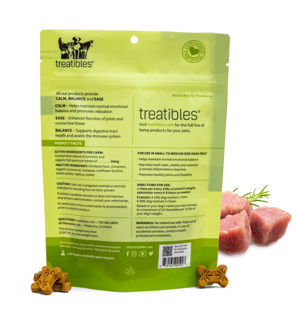 Back of green Treatibles Calm Hard Chews bag showing product information and details for use