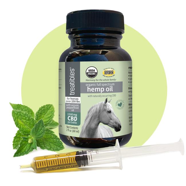 Image of the front of the Treatibles 1500 mg Organic Full Spectrum Hemp CBD Oil bottle for horses