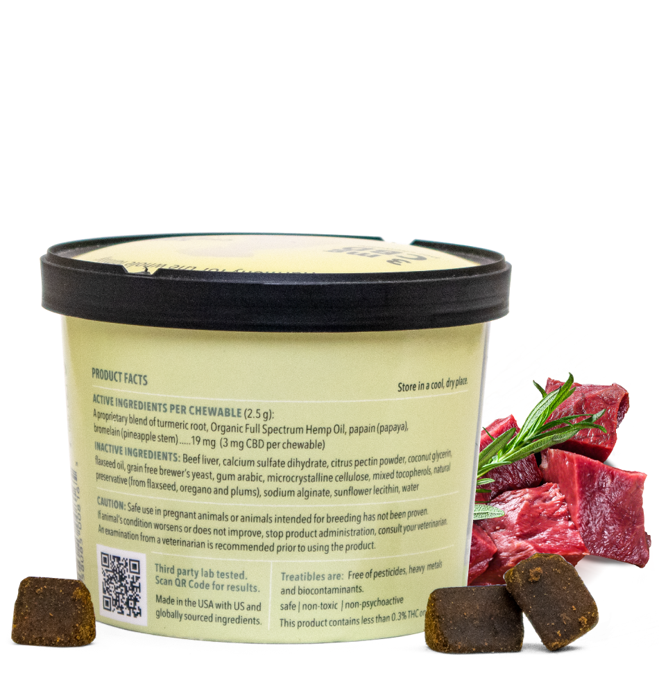 Image of the back label from a canister of Treatibles Soft Chewables for Dogs