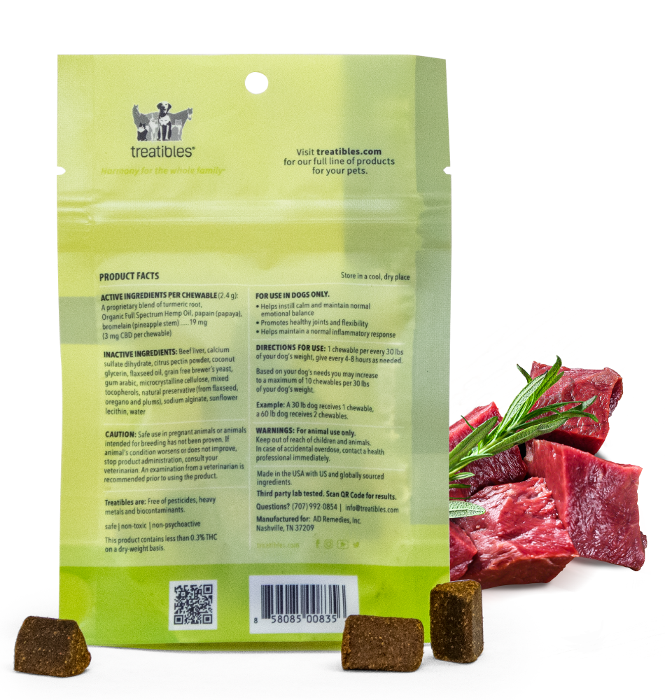 Image of the back label from an Intro Pack size bag of Treatibles Soft Chewables for Dogs