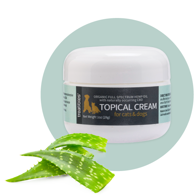 Image of the front of Treatibles 1 oz Topical Cream with 60 mg of Organic Full Spectrum Hemp CBD Oil.