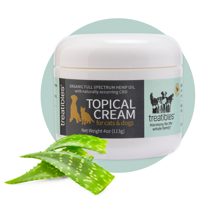 Image of the front of the Treatibles 4 oz Topical Cream featuring 240 mg of Organic Full Spectrum Hemp CBD Oil