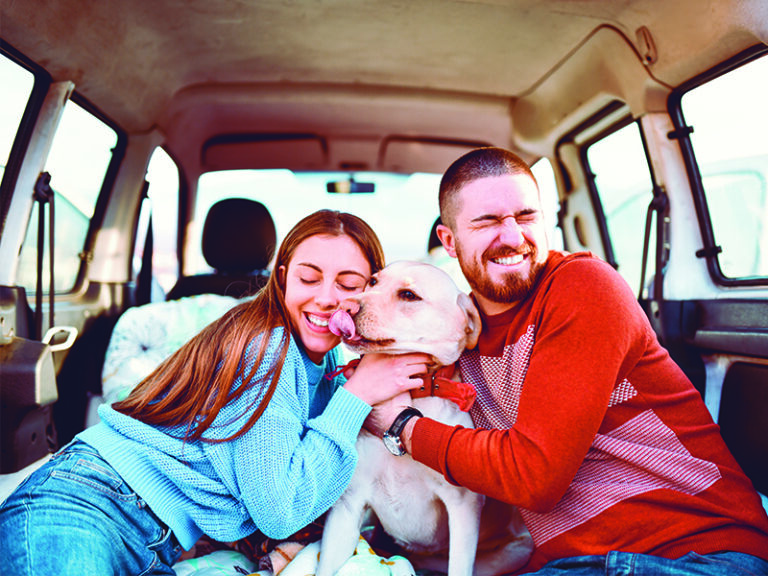 A couple hugs their dog in the back of their SUV while taking a road trip