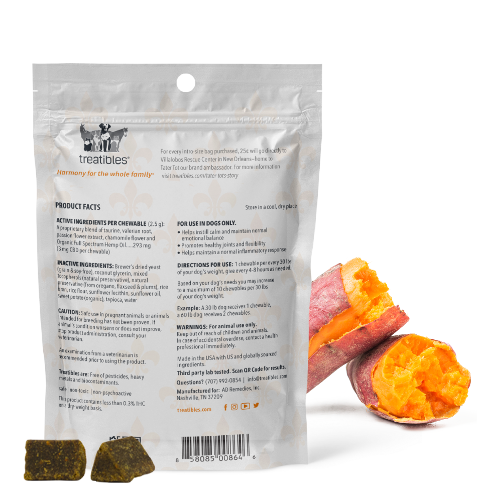 Intro Pack Soft CBD Chewables For Dogs - Sweet Potato Favor Back Info