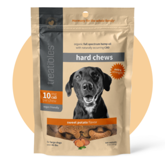 photo of the front of the package of Treatibles Extra Strength Hard Chews for Dogs featuring an adorable dog
