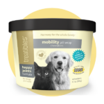 Image of front of the light yellow canister of Treatibles Happy Joints Mobility Pill Wrap Chewables for Dogs and Cats featuring a black cat and golden retriever.