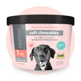 Image of the front of the pink canister of Treatibles Extra Strength CBD Soft Chewables for dogs featuring an adorable floppy eared dog