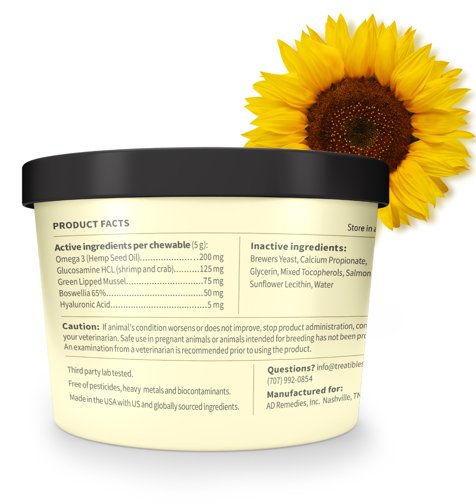 Image of the back of the light yellow canister of Treatibles Happy Joints Mobility Pill Wrap Chewables for Dogs and Cats along with a sunflower over the top right side of the photo