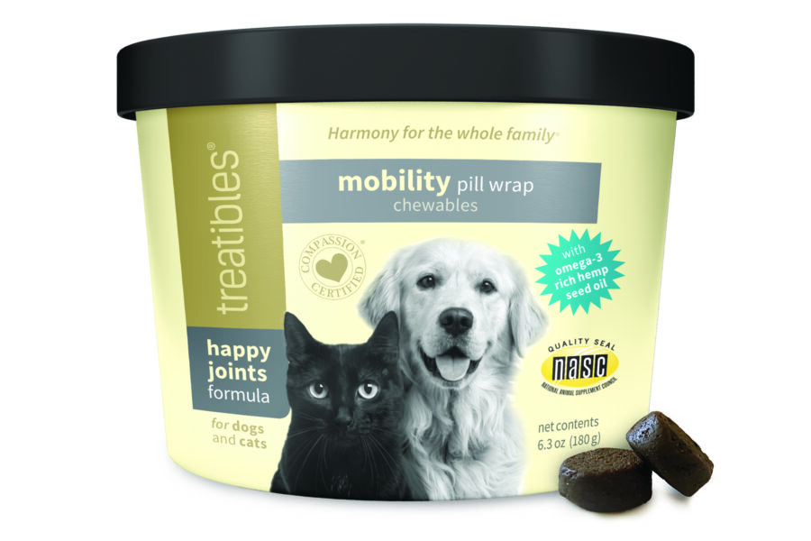 image of the front of the Happy Joints Mobility Pill Wrap Chewables for dogs and cats by Treatibles. It features a black cat and Golden Retriever along with the NASC quality seal